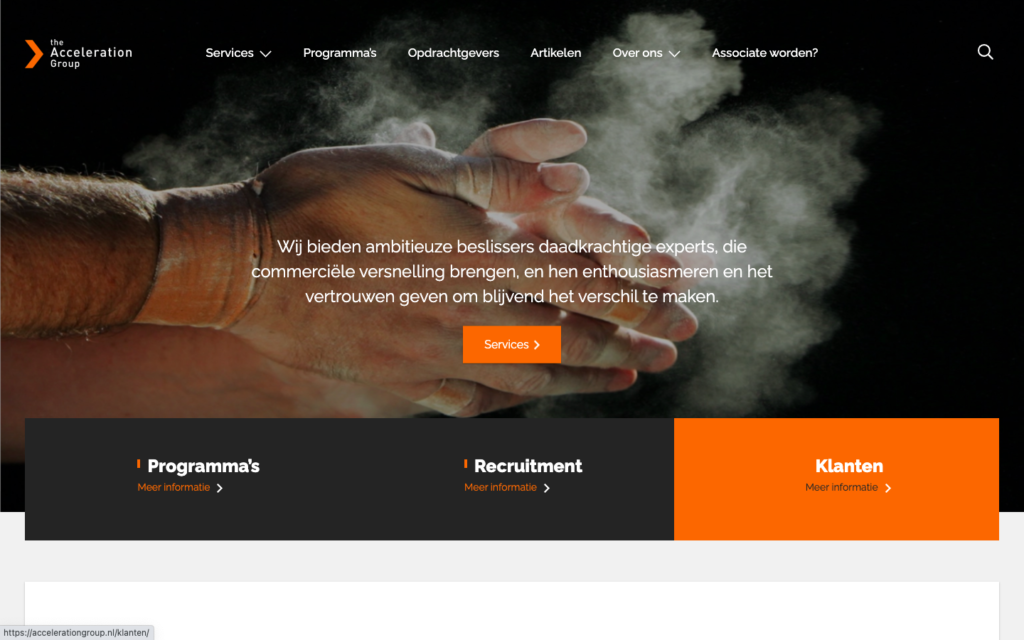The AccelerationGroup Nieuwe website